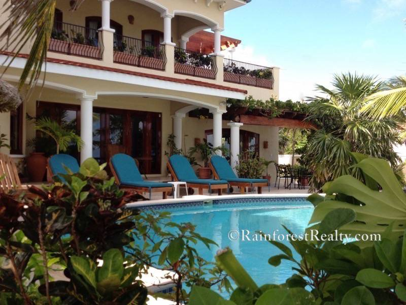 Luxury Beach Front Villa San Pedro Belize Rear Pool View