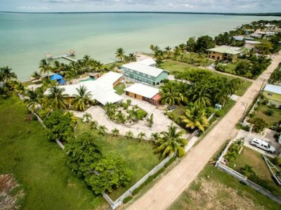 Aerial View of Belize Corozal Ocean Front Home for Sale