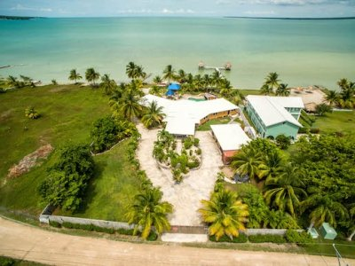 Front Aerial View of Belize Corozal Ocean Front Home for Sale