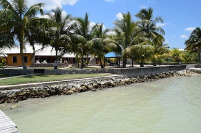 View from the Dock of the Ocean Front Belize Corozal Home for Sale